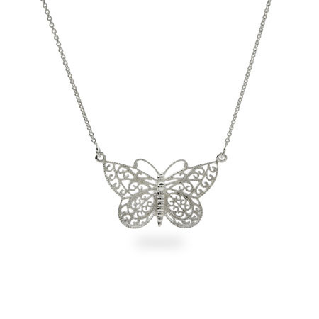 Sterling Silver Vintage Design Butterfly Necklace