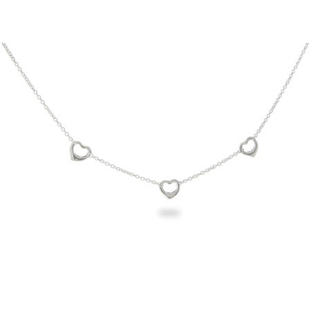 Sterling Silver Three Hearts Necklace