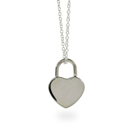 Tiffany Style Locked Heart Sterling Silver Pendant