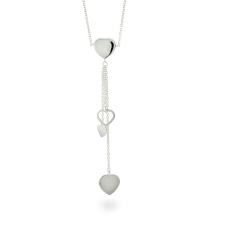 Tiffany Inspired Cascading Hearts Sterling Silver Necklace