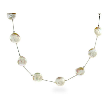 Sterling Silver White Freshwater Coin Pearl Necklace