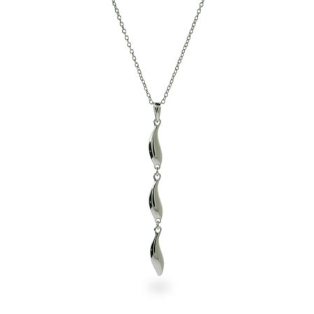Tiffany Inspired Triple Contemporary Drop Silver Necklace