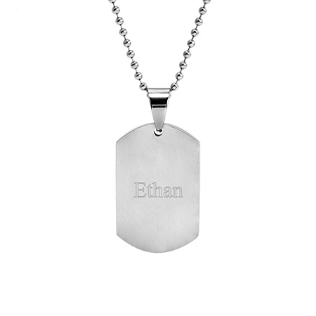 Stainless Steel Brushed Finish Dog Tag Pendant