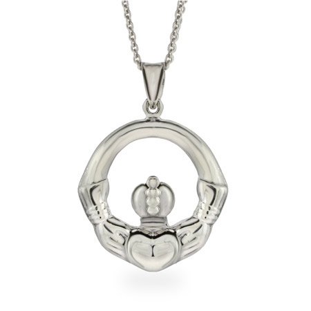 Large Sterling Silver Claddagh Pendant