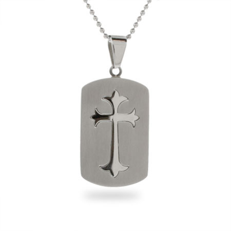 Fleur de Lis Cross Stainless Steel Dog Tag Pendant