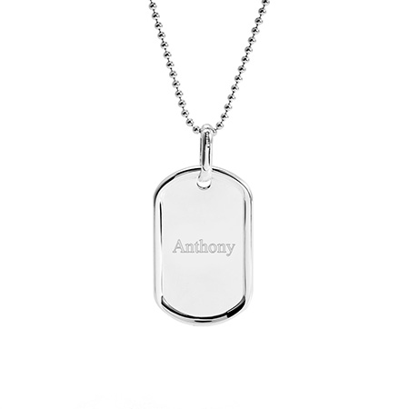 Small Sterling Silver Dog Tag Pendant