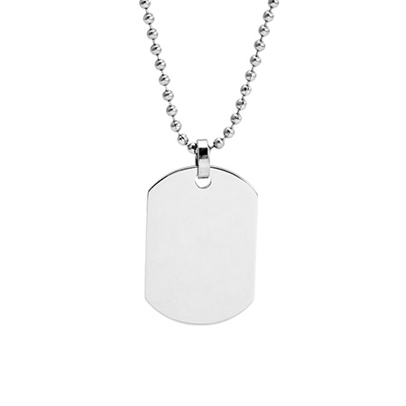 Small Stainless Steel Engravable Dog Tag Pendant