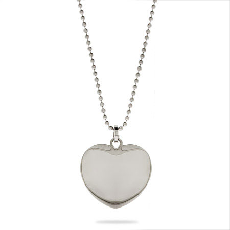 Stainless Steel Engravable Petite Puffed Heart Pendant