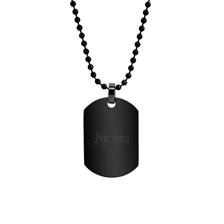 Black Plated Small Stainless Steel Dog Tag