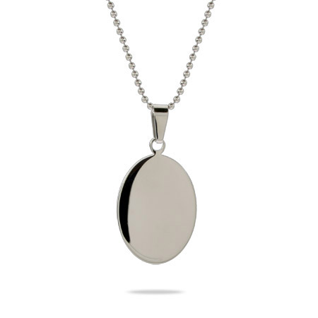 Engravable Small Oval Tag Stainless Steel Pendant