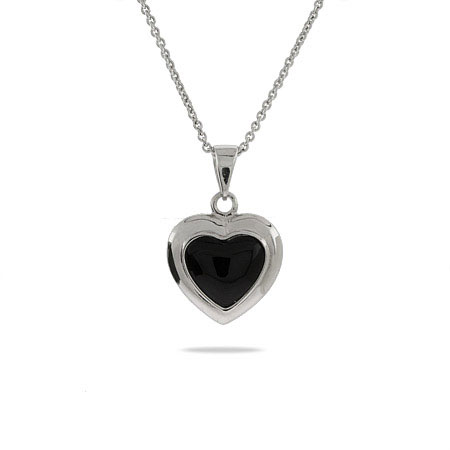 Black Onyx Sterling Silver Heart Pendant