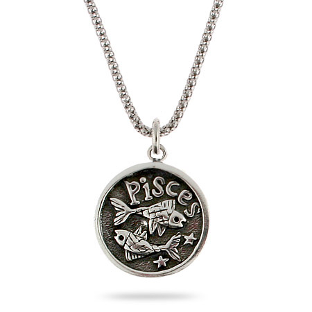 Sterling Silver Pisces Zodiac Pendant Feb. 19 - March 20