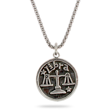 Sterling Silver Libra Zodiac Pendant Sept. 23 - Oct. 22