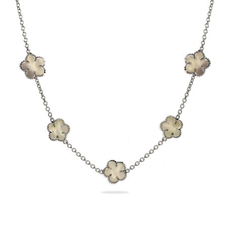 Designer Style Silver Mother of Pearl Clover Necklace
