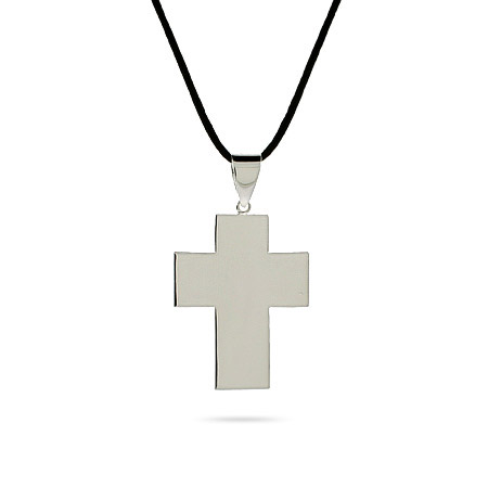 Smooth Sterling Silver Engravable Cross Pendant
