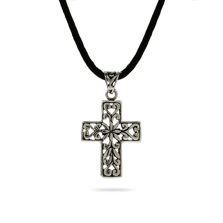 Bali Style Sterling Silver Floral Cross Necklace