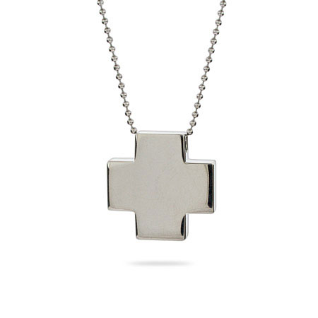 Engravable Stainless Steel Reversible Cross Pendant
