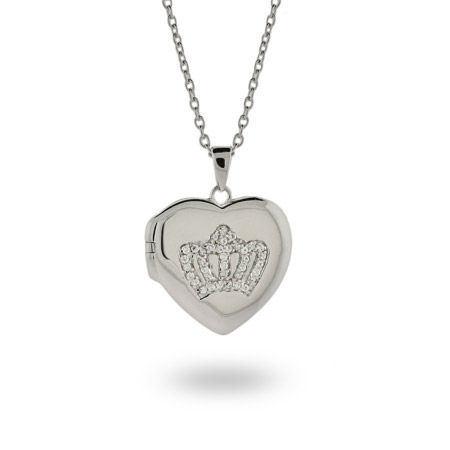 Emily's Sterling Silver Heart Shaped Crown Locket