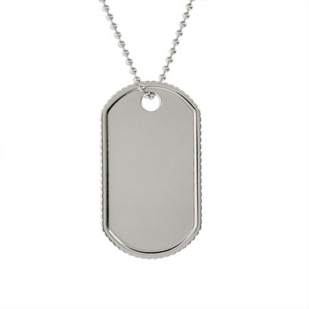Tiffany Inspired Coin Edged Engravable Dog Tag Pendant