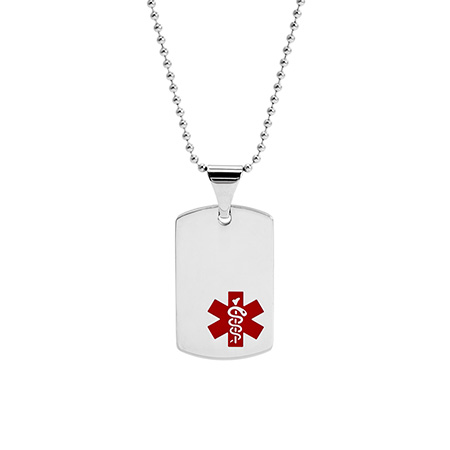 Engravable Dog Tag Medic ID Pendant