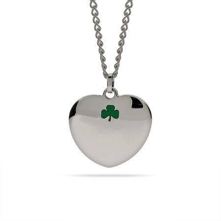Lucky Shamrock Engravable Heart Pendant