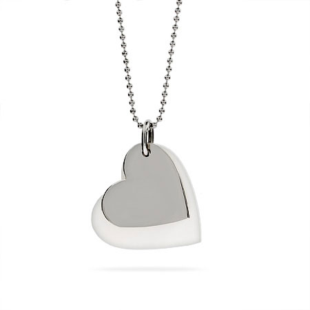 Tiffany Inspired Double Heart Engravable Mother of Pearl Pendant