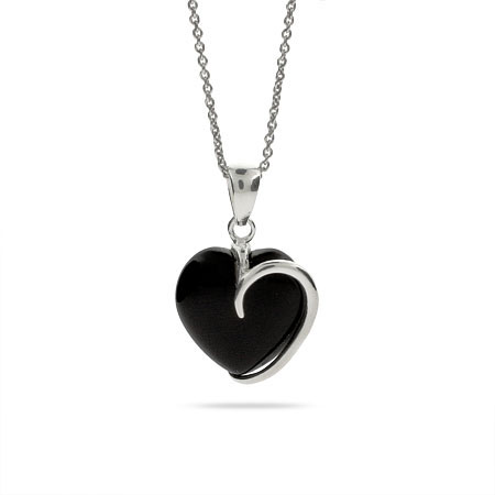Contemporary Style Onyx and Sterling Silver Heart Pendant
