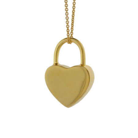 Tiffany Inspired Gold Vermeil Engravable Locked Heart Pendant