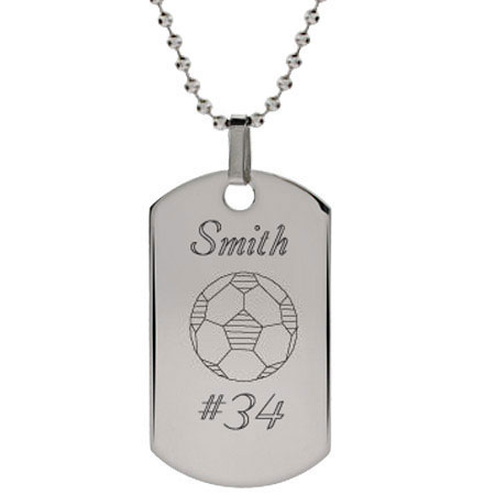 Engravable Stainless Steel Soccer Dog Tag Pendant