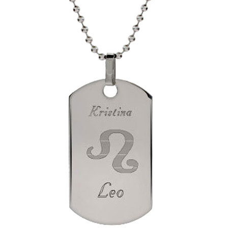 Engravable Stainless Steel Zodiac Necklace