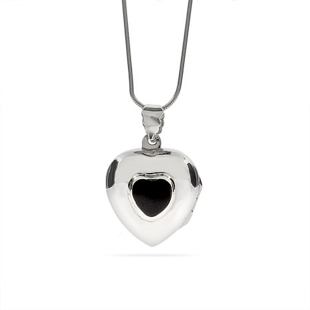 Sterling Silver Engravable Onyx Heart Locket