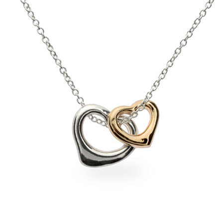 Tiffany Inspired Gold N Silver Heart Charm Necklace