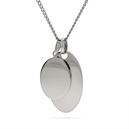 Engravable Stainless Steel Double Oval Tag Pendant