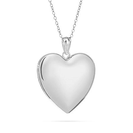 Large Engravable Sterling Silver Plain Heart Locket