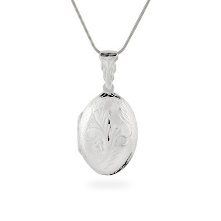 Clara's Oval Etched Sterling Silver Locket