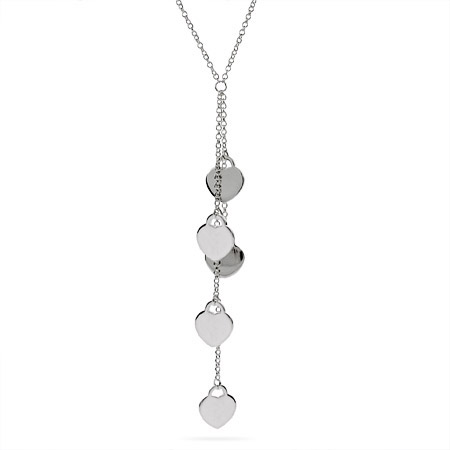 Tiffany Inspired Sterling Silver Dangling Hearts Necklace