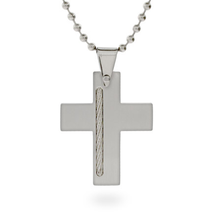 Designer Style Stainless Steel Cross Pendant with Cable