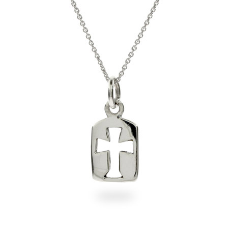 Petite Sterling Silver Tag Pendant with Cross Cutout