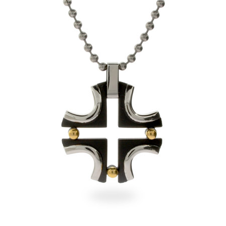 Stainless Steel Cross with Black and Gold