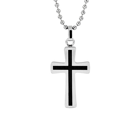Simple Stainless Steel Cross Pendant with Black Inlay