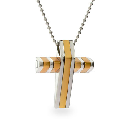 Stainless Steel and Gold 3-D Cross Pendant