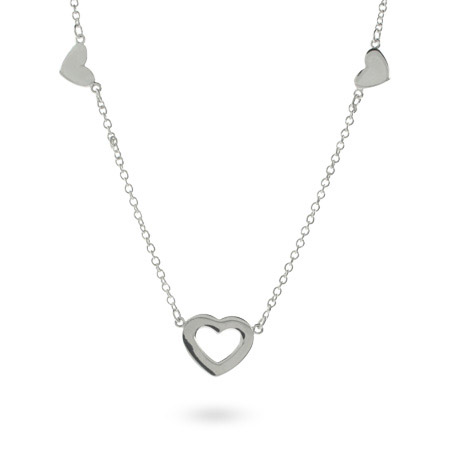 Tiffany Inspired Sterling Silver Heart Link Toggle Necklace