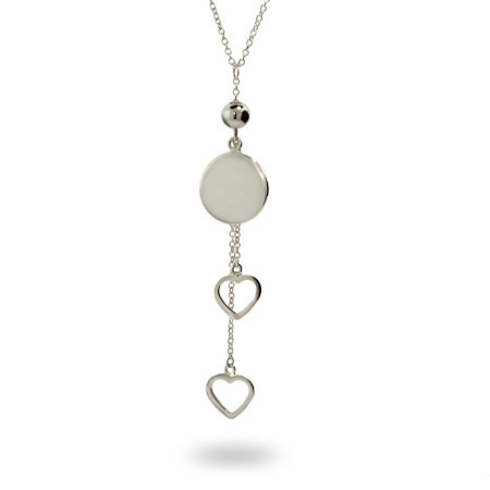 Tiffany Inspired Engravable Round Tag Heart Drop Necklace