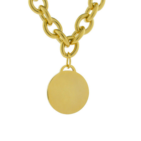 Tiffany Inspired Stainless Steel Gold Round Tag Necklace