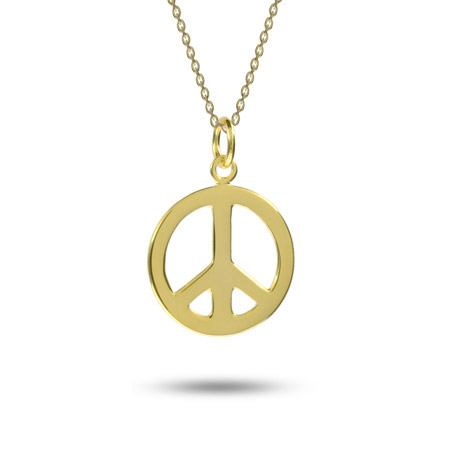 Gold Vermeil Sterling Silver Peace Sign Pendant