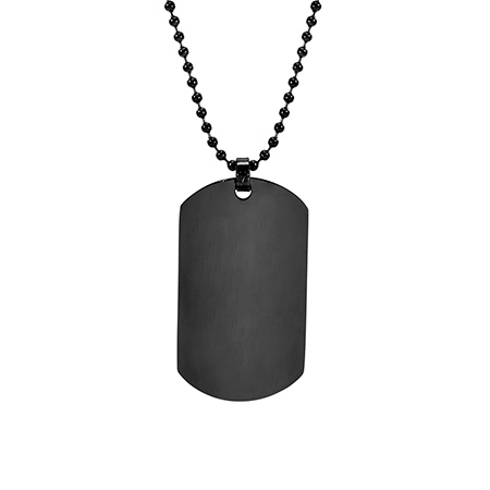 Black Plated Large Stainless Steel Dog Tag