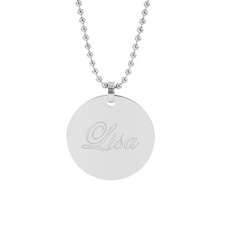 Large Stainless Steel Round Tag Pendant