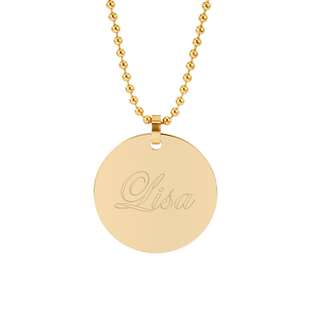 18K Gold Plated Large Round Tag Stainless Steel Pendant