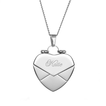 Engravable Heart Secret Message Envelope Locket