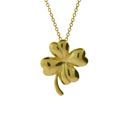 Good Luck Gold Vermeil Four Leaf Clover Pendant